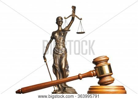 A Gavel And Bronze Themis Statue - Symbol Of Justice - Isolated On White