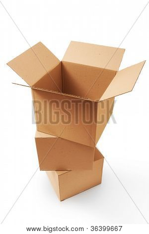 A stack of cardboard boxes