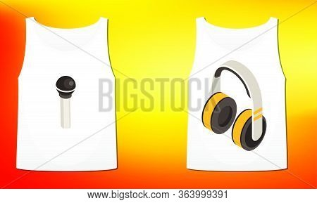 Mock Up Illustration Of Couple Inner Wear With Music Art On Abstract Background