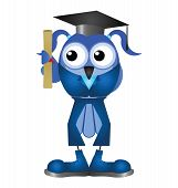Female graduation student with diploma isolated on white background poster