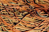 Background of dirty old fishing ropes under sunlight poster
