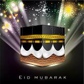 Beautiful View of Qaba or Kabaa Shareef on colorful rays background for celebration of Muslim community festival Eid Mubarak.EPS 10. Vector illustration. poster
