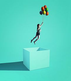 Woman Flying Out Of The Box Using  Balloons . Think Outside The Box Business Creative.