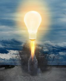 Ideas Inspiration Concepts With Rocket Lightbulb Flying . Business Startup Idea .