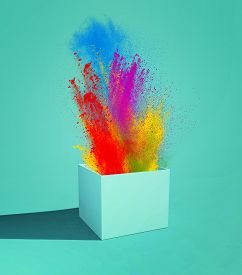 Coloful Paint Splashes Explode Outside The Box . Creative Mind Concept .this Is A 3d Render Illustra