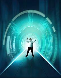 Businessman Cyber Tunnel Server . Futuristic Data Information .