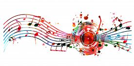 Colorful Music Background With Music Notes And Vinyl Record Disc Isolated Vector Illustration Design