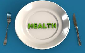 Eating Healthy Concept 3d Rendered Isolated On Blue Background