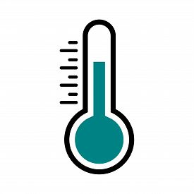 Thermometer Vector Icon. Thermometer Black Icon In Simple Flat Design. Temperature Symbol. Celsius T