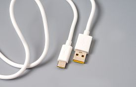White Cable With Type-c Interface And Usb