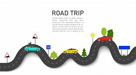Road Map With Car Location. Roadmap Of Trip Or Journey. Winding Way Race On Highway With Taxi. Infog
