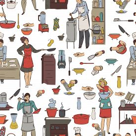 Seamless Pattern With Cooking People, Kitchen Utensils And Appliances. Group Of People Preparing Mea