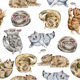 Seamless Pattern With Cats. Cute Funny Characters, Cat Emotions And Feelings. Watercolor Hand Drawn