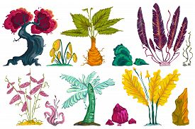 Fantasy Tropical Forest Plants And Stones Set. Abstract Exotic Flowers, Trees And Plants. Isolated D