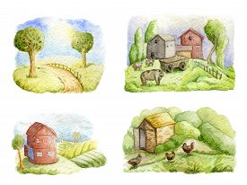 Old Farms And Rural Landscapes Set. Fields, Houses, Trees, Domestic Animals. Organic Farm, Local Foo