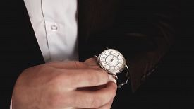 Close Up Of An Expensive Elegant Watch In Hand.