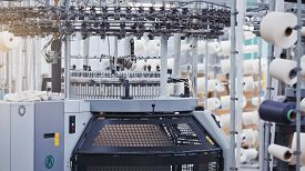 Textile Factory In Spinning Production Line. Textile Industry