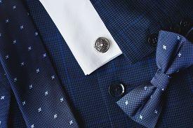 Luxury Men Cufflink And Suit Close Up.