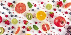 Fresh Summer Fruit Panorama, A Flatlay On A White Background, Vibrant Food Pattern, Shot From Above