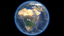 Beautiful Planet Earth In Space Against The Background Of Stars. Africa. 3d Rendering. Elements Of T