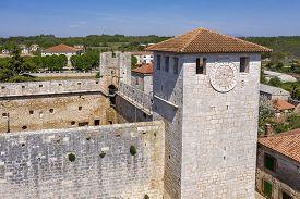 An Aerial View Of Stone Castle Morosini-grimani In Svetvincenat, Istria, Croatia