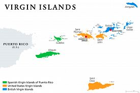 Virgin Islands Map With Political Jurisdictions. British, Spanish And U.s. Virgin Islands In The Car