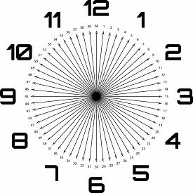Clock Dial Enormous Deco Numbers Black Arrows As Seconds On Transparent Background