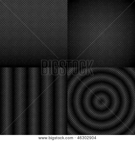 Seamless black and white abstract pattern set