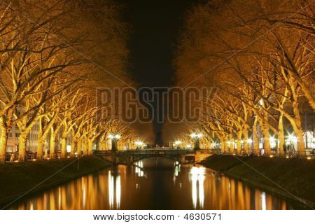 Shining River At Night