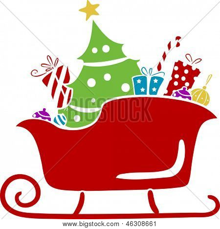 Illustration of Christmas Santa Sleigh with Gifts Stencil