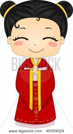 Illustration of Cute Little Chinese Girl Wearing Traditonal Costume Cheongsam