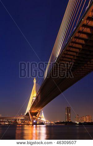 Large Bridge Over Chao Phraya River At Twillight