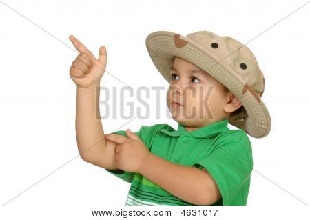 Boy In Green Shirt Pointing Up, Three Years Old