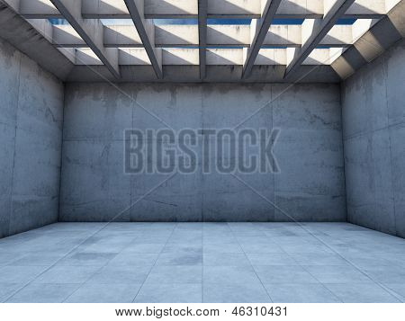 Large empty room with concrete walls poster