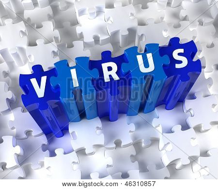 Creative 3D pieces of puzzle and word Virus