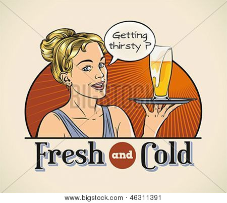 Cute cheerful blondie with a pint of beer on a tray. Editable layered vector.