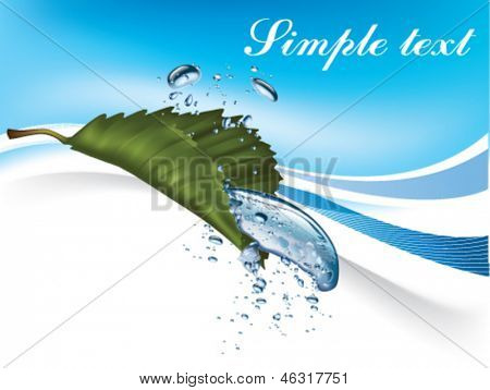 drop of water dripping from the green leaf.  Vector  illustration on blue background.