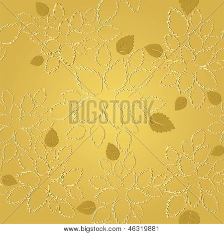 Seamless golden leaves lace wallpaper pattern. This image is a vector illustration.