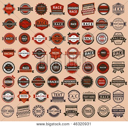 Racing badges - vintage style, big set