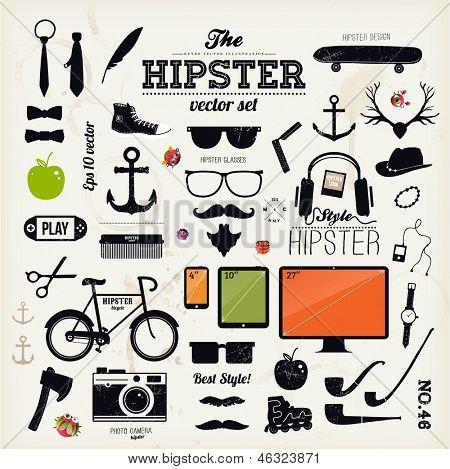 Elementos de infográficos de estilo hipster e ícones para design retro. Com a bicicleta, óculos de sol, mustac