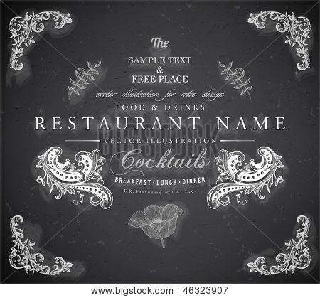 Vintage frame with floral ornament with grunge background for restaurant name design. Chalkboard art. Black illustration variant.