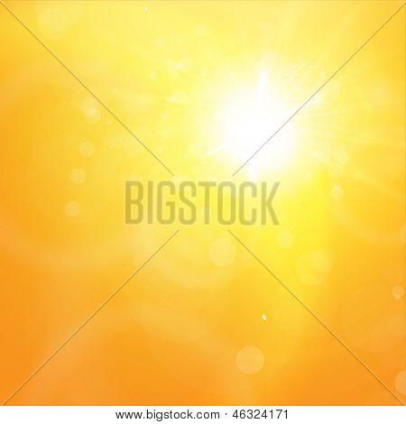 Sunny orange summer background for bright design. Lens flare. Vector eps10 illustration
