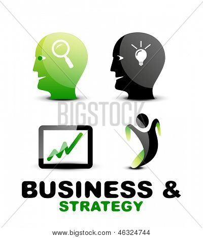 Modern business and strategy vector icon set