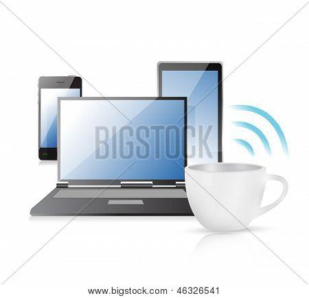 Internet Connection Coffee Mug Concept