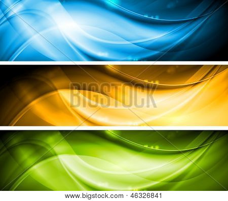 Colourful wavy banners collection. Vector template eps 10 poster