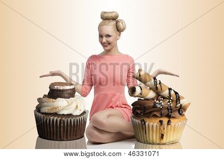 Happy Girl With Two Big Cupcakes