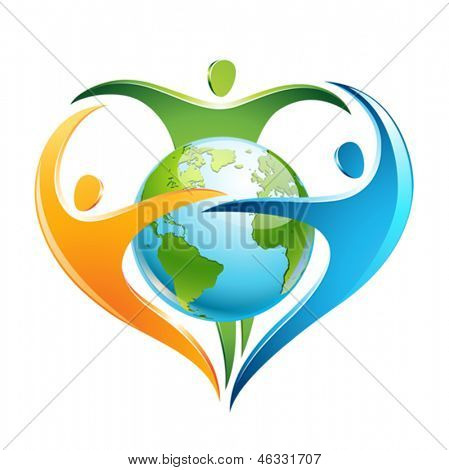 The figures surround Earth in a shape of a heart