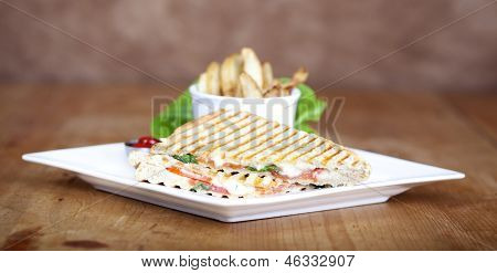 Grilled Caprese Sandwich With Fried Potatoes