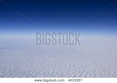 Deep Blue Sky And High Clouds From Stratosphere