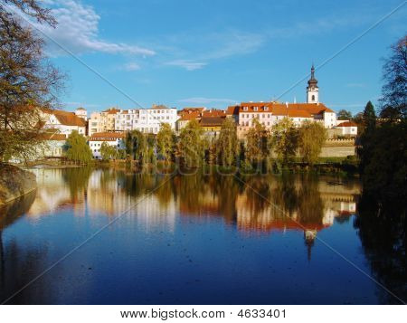 The Old Town Pisek On The River Otava With Blue Sky